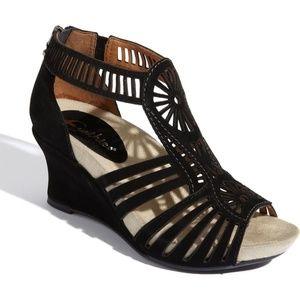 Earthies Carmona Women's Black Wedge Sandals